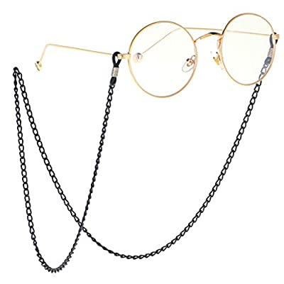 NF&E 70 cm Metal Eyeglasses Chains Rope Spectacles Cord Holder Retainer Strap Black for Women, Lady, Girls