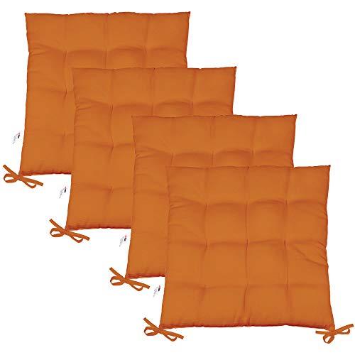 CelinaTex Sitzkissen 4er-Set Yoyo 40x40 cm, Gartenstuhlkissen, Sitzauflage Garten, Balkon Terrasse 6000485 orange