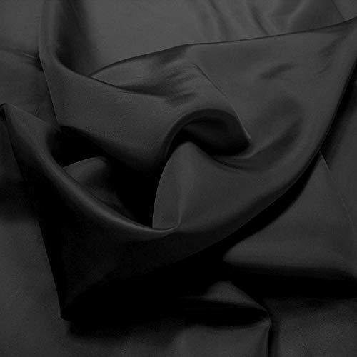 TOLKO Meterware | Futterstoff/Deko-Stoff zum Nähen - Leicht, Halb-Durchsichtig aus Polyester (Schwarz)