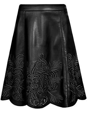 oodji Ultra Mujer Falda de Piel Sintética con Bordado