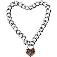 Ocamo Mujeres de Moda Punk Cool Neck Collar Slave Game Mascotas en Forma de Corazón Anillo Candado Metal Gargantilla Collar