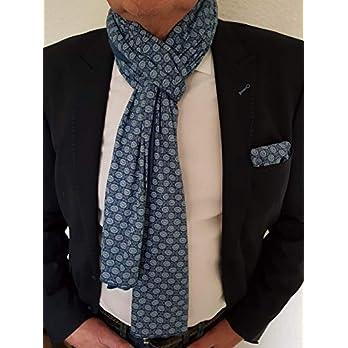 Exklusiver Herren Schal mit passendem Einstecktuch, Zweiseitig Blau Uni und Blau Gemustert