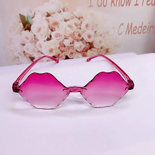 CYCY Kindersonnenbrille Kindersonnenbrille Jungen und Mädchen Brille Runder Rahmen Baby Sonnenblende Champagner Sonnenblume Orange Tasche, Smaragd Lip Print Rose Rot + Tasche