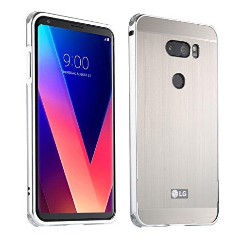LG V30 UltraSlim Case Premium Aluminium Schutzhülle Rahmen für LG V30, Silber