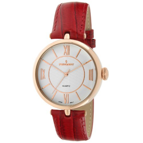 Peugeot 3033RG Unisex Large Dial Red Leather Band Watch