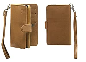 Jo Jo A9 Nillofer Leather Carry Case Cover Pouch Wallet Case For Asus Zenfone 5 8GB Tan
