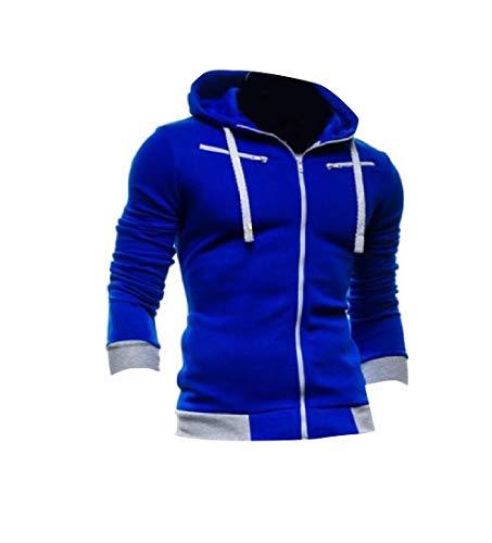 CuteRose Mens Outwear Coat Cardigan Full Zip Relaxed Hooded Sweatshirt AS1 L Youth Full Zip Lightweight Jacket