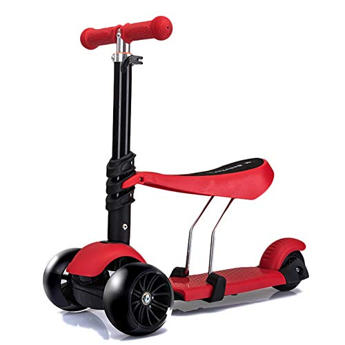 Kinder Roller Kick Scooter Höhe 4 Dateien einstellbar, PU-Rädern und verstellbaren Sitz, Kid\'s Best Gifts (Color : Red)