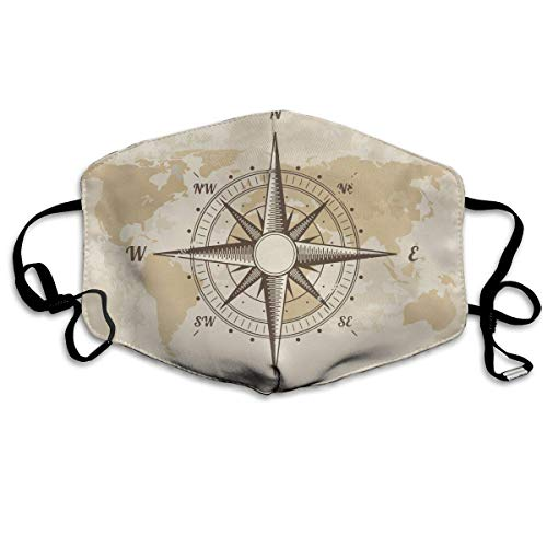 Kostüm Old Gesicht Mann - Daawqee Mund Maske, Vintage Nautical Compass Old World Map Unisex Fashion Anti Staub Schutzhülle Washable Safety 100% Polyester Comfortable Breathable Health Half Face Masks