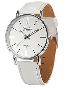 Dalas Montre Quartz Classique Bracelet Cuir PU Design Simple Unisexe Blanc Couples WAA187