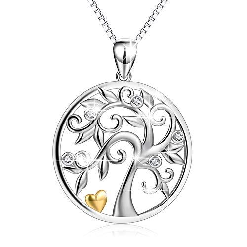 LEEFISH Baum des Lebens Halskette, 925Er Sterling Silber Zirkon Mode Anhänger, Muttertag Valentinstag Geburtstag Geschenk Für Frauen Mädchen Mit Kette 18 Zoll
