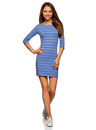 oodji Ultra Damen Jersey-Kleid Basic, Schwarz, DE 36 / EU 38 / S