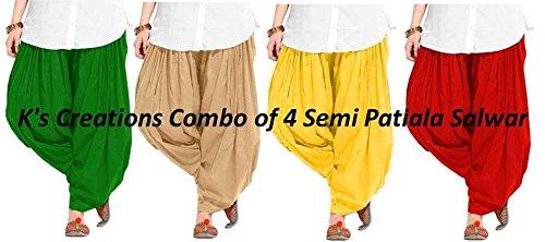 K\'s Creations Combo of 4 Womens Solid Cotton Mix Best Indian Ethnic Comfortable Readymade Punjabi Semi Patiala Salwar