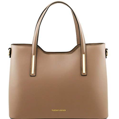 Tuscany Leather - Olimpia - Sac cabas en cuir Ruga - Taupe clair