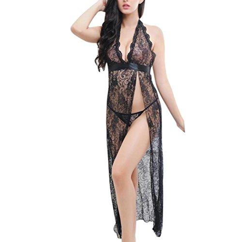 Preisvergleich Produktbild Hansee Dessous Frauen Sexy Unterwäsche Nachtwäsche Spitzenkleid G-String Set (Schwarz)