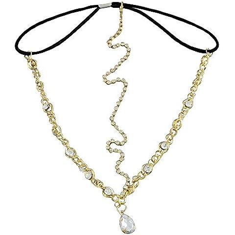 Elegante acccerio de las mujeres de el pelo de la frente, Cadena de Hierro Cintas para la cabeza, con cadenas Beass Rhinestone y Cordon elastico, oro, 150 mm
