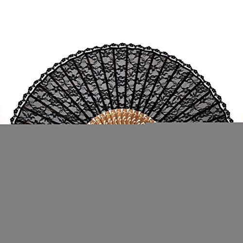 hinese Black Delicate Mit Quaste Für Geschenk Floral Lace Tulle Hand Fan Hand Dance Fan ()