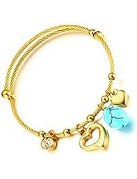 Vnox Mujer de acero inoxidable cable de alambre de color turquesa corazón encanto pulsera ajustable brazalete de oro