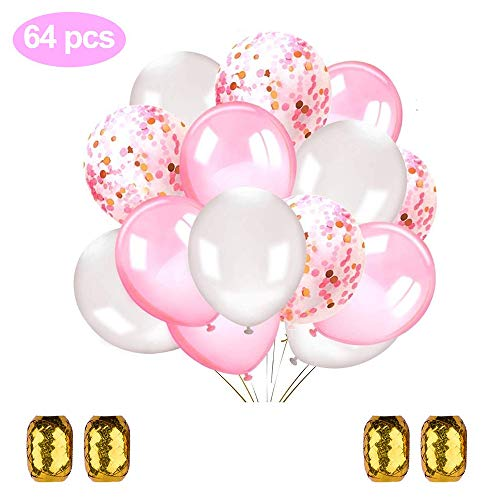Erlliyeu 64 Stück Luftballons Rosa Konfetti Ballons Rosa und Weiß für Hochzeit und Geburtstag Party Baby-Duschen Valentinstag (ca.30cm)