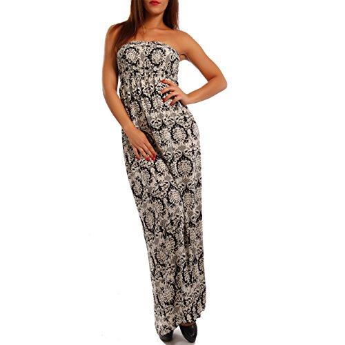 Damen Maxikleid Hippie Bandeau Long Dress Strandkleid Beige/Schwarz