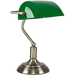 MiniSun - Lámpara de mesa contemporánea de escritorio de banquero en latón y verde