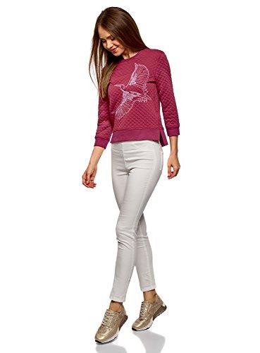 oodji Ultra Damen Sweatshirt aus Strukturiertem Stoff mit 3/4 Arm Rot (4900P)