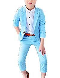 LaoZanA Completi per Ragazzi Elegante 2Pcs Vestiti Matrimonio Festa Vestito  Giacca + Pantaloni Azzurro 27cd29b272e