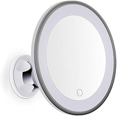 Bornku Espejo Maquillaje con Luz de Aumento 7x B60 LED Ajustable Espejos Baño y Cosmético y Afeitar con Ventosa