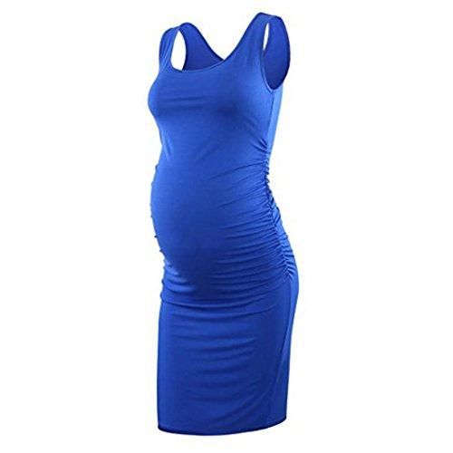 Trada Umstandsmode, Damen Rüschen Mutterschaft Bodycon Kleid Mutter Causual ärmellose Wickelkleider Bodycon Kleid Schwangerschaften Kleid Stillkleid Freizeitkleid Figurbetontes Kleid (S, Blau) - Kurzarm-wrap