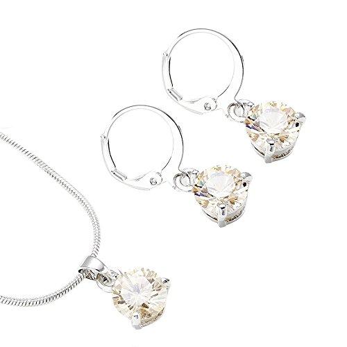 Lialbert Edelsteine AnhäNger-Ohrring-Halskette-Set,Damen Diamant Runde Silber Kette SchöNe Schmuck Anzug