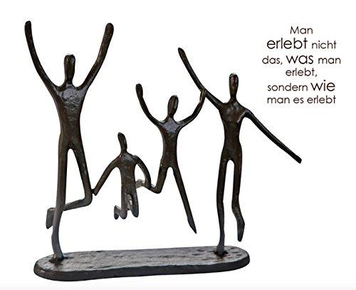 CMD Themen Figur, Skulptur mit Spruch und Weisheit, Man ERLEBT Nicht DAS, was Man ERLEBT, SONDERN WIE Man ES ERLEBT', aus Eisen BRÜNIERT, durch wundervolles Design in Szene gesetzt, 22 x 20 x 6 cm