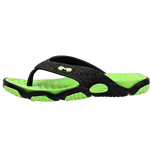 5190f593e Aleader Men s Rubber Sandal Slipper Comfortable Shower Beach Shoe Slip On Flip  Flop Black Green 6 UK - Buy Online in Oman.