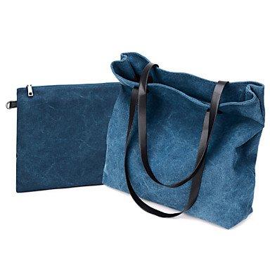 Donne busta di tela borsa a tracolla - blu / grigio / nero,Nero Blue