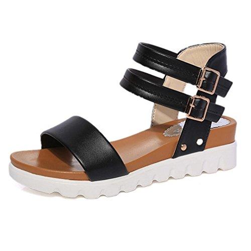 DM&Y 2017 scarpe basse estate sandali aperti doppia fibbia impermeabile sandali dal fondo pesante studenti Black