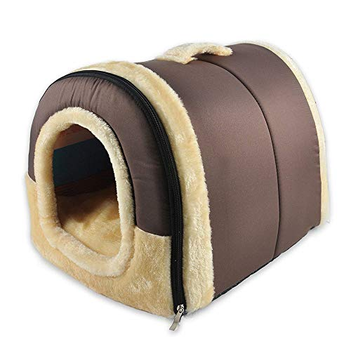 Jia Meng 2 in 1 Haus und Sofa für Hundebett Cat Puppy Rabbit Pet Warm Soft Warm Pet Bed (45 * 35 * 35, Braun)