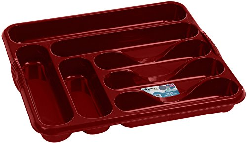 Casa Large Cutlery Tray Rack 7 Compartment Plastic Cutlery Draw Storage Stand Holder Caddy Organiser For Kitchen Drawers (Chilli Red)