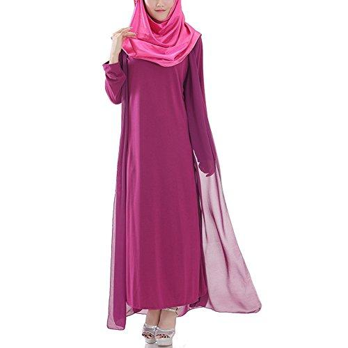 hibote túnicas árabes musulmanes las mujeres oriente medio vestido de gasa de manga larga de color púrpura XL