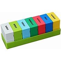OFKPO Pastillero de multicolor - dispensador de medicamentos contenedor, gran capacidad 28 compartimentos 7 días