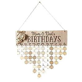 BESTOYARD Calendario di richiamo di compleanno Piastra di Festa di compleanno di famiglia bricolage Pendaison in legno