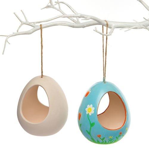 Bastelsets für Futterhäuschen aus Keramik Zum Bemalen, Gestalten und Aufhängen (2 Stück)