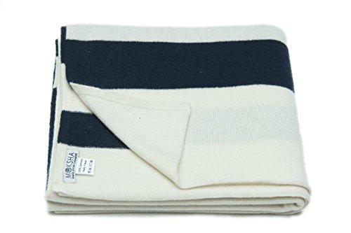 """100% sciarpa Mens cachemire, cachemire lavorato a maglia Sciarpa, Mongolia Cashmere Yarn (26/2) inverno spesso a righe sciarpa di cachemire, Bianca / Blu 80 """"X 20"""""""