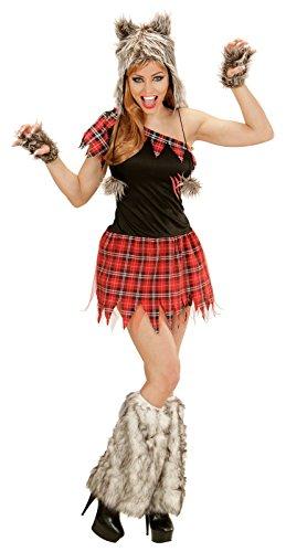 Widmann 02481 Erwachsenenkostüm Wolf Lady, Kleid, Kopfbedeckung und fingerlose (Kostüme Werwolf Sexy)