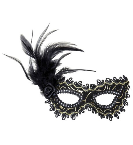 Augenmaske schwarz mit Rose und Feder