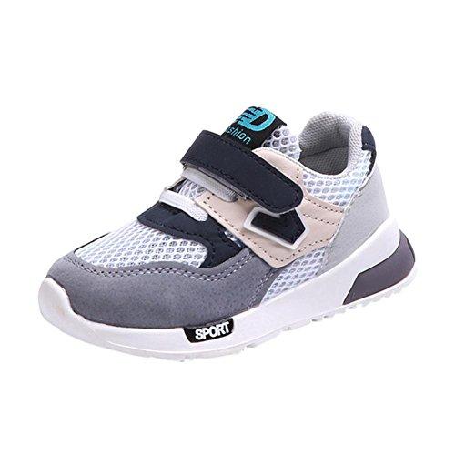 Jordan 5 Größe Schuhe (SOMESUN Fashion Baby Jungen Mädchen Sport Schuhe Kinder Weiche Sohle Elastisch Atmungsaktiv Mesh Klassisch Gestreift Beiläufig Freizeit Turnschuhe (EU21, Grau))