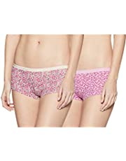 Amante Solid Low Rise Cotton Boyshorts Panty Pack (Pack of 2) Multi Colour Large