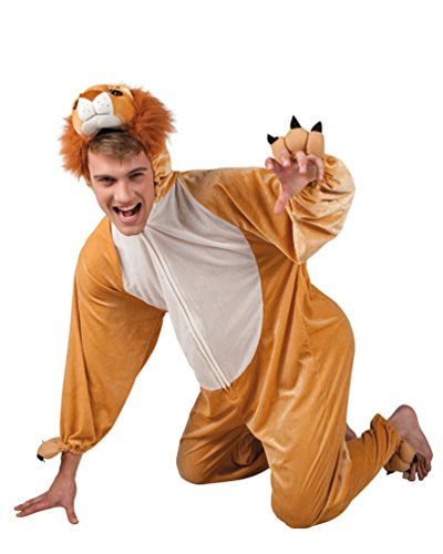 Karneval Klamotten Löwe-n Kostüm Herren aus Plüsch Erwachsene Löwe-Overall Karneval Tier-Kostüm Herren-Kostüm Einheitsgröße