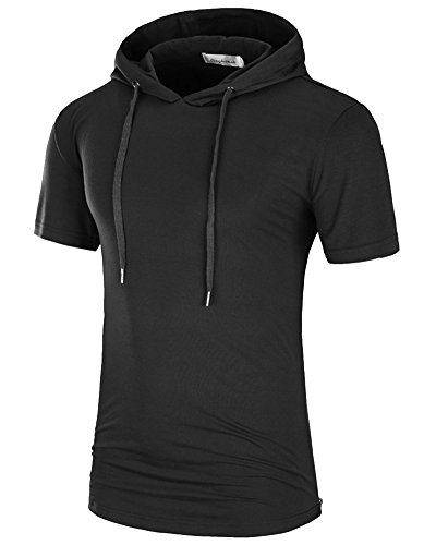 Herren T-Shirt Lange mit Kapuze Kurzarm Hoodie Kapuzenpullover Schwarz