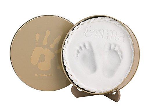 Express-geschenk-set (Baby Art Magic Box für 3D-Abdruck in dekorativer Metall-Geschenkbox, Hand oder Fußabdruck zum aufstellen, rund, beige)