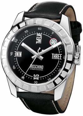 Moschino MW0019 - Reloj analógico de caballero de cuarzo con correa de piel negra - sumergible a 30 metros