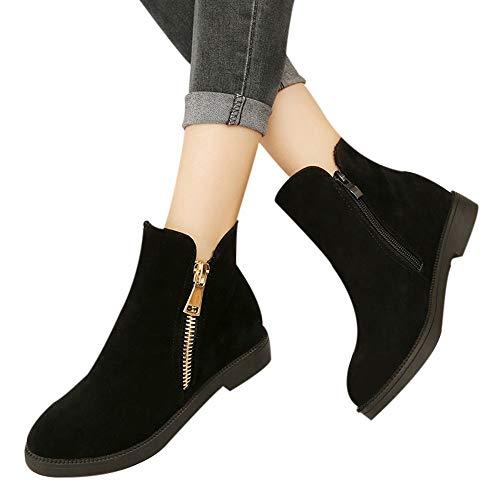 OSYARD Damen Flache Booties Stiefel Freizeit s, Frauen Mode Einfarbig Winter Warme Shoes Runde Kappe Schuhe Wildleder Boots Reißverschluss Ankle Stiefeletten(235/38, Schwarz)
